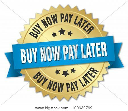 Buy Now Pay Later 3D Gold Badge With Blue Ribbon