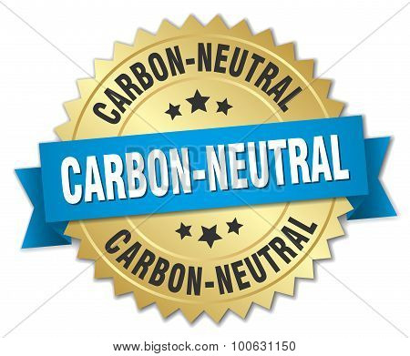 Carbon-neutral 3D Gold Badge With Blue Ribbon