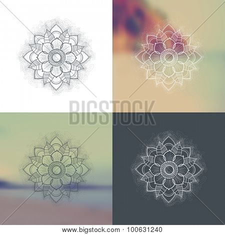 Set of Ornament round mandalas with a blurred background. Geometric circle element made in vector. Perfect set for any other kind of design, birthday, kaleidoscope, medallion, yoga, india, arabic
