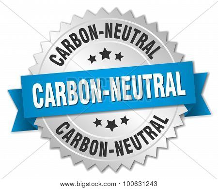 Carbon-neutral 3D Silver Badge With Blue Ribbon