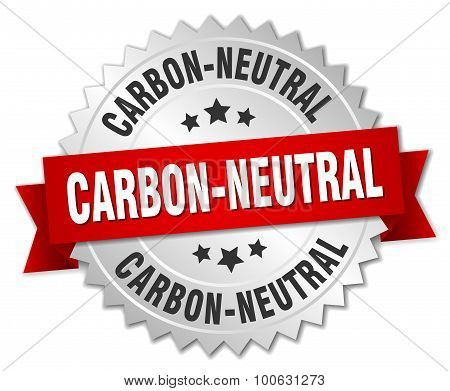 Carbon-neutral 3D Silver Badge With Red Ribbon