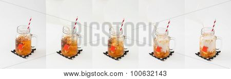 Iced earl grey milk tea picture collage show while pouring milk into tea glass