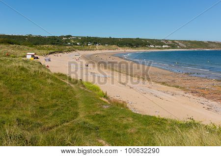 Port Eynon Bay beach The Gower Peninsula Wales uk popular tourist destination and near Oxwich