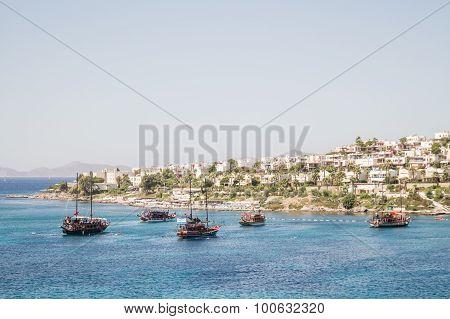 Touristic Sail Boats Near The Beach Of Akyarlar, Bodrum