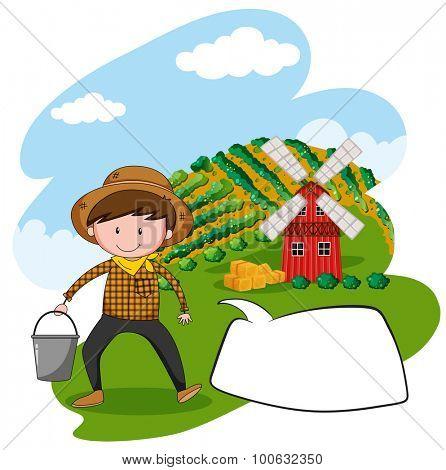 Farmer working in the farmland