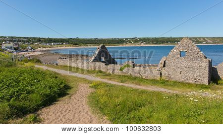 Ruins of the old salt house Port Eynon Bay The Gower Wales uk popular tourist destination