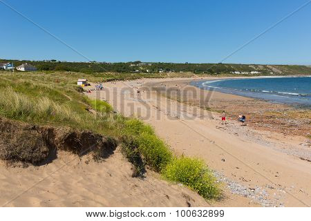 Port Eynon Bay The Gower Peninsula Wales uk popular tourist destination with people