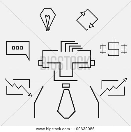 Business Line Art Icons Set