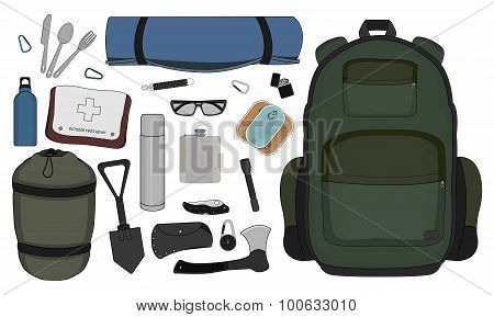 Camping Set. Color