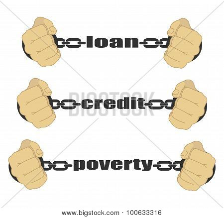 Loan, Credit, Poverty Abstract Sign