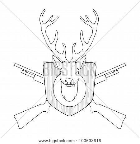 Hunting Emblem. Deer Head. Contour