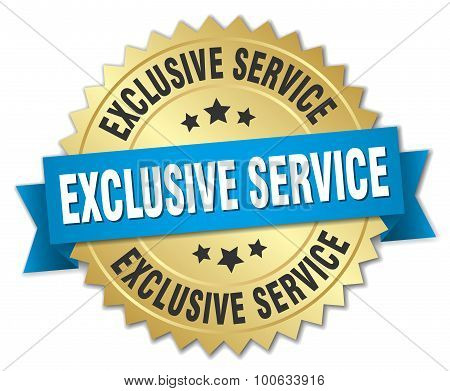 Exclusive Service 3D Gold Badge With Blue Ribbon