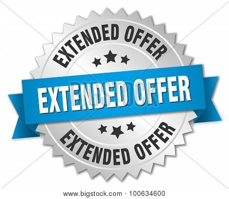 Extended Offer 3D Silver Badge With Blue Ribbon
