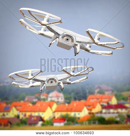 Drones spying over your home. Digital artwork fictional vehicles on UAV theme.