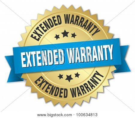 Extended Warranty 3D Gold Badge With Blue Ribbon