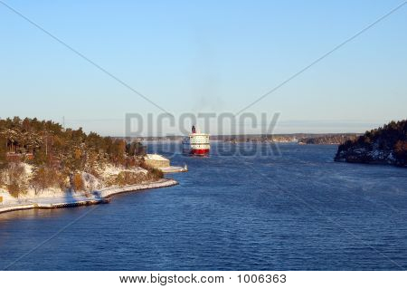 Ferry Boat Heading Through Skerry Islands Near Stockholm, Baltic Sea
