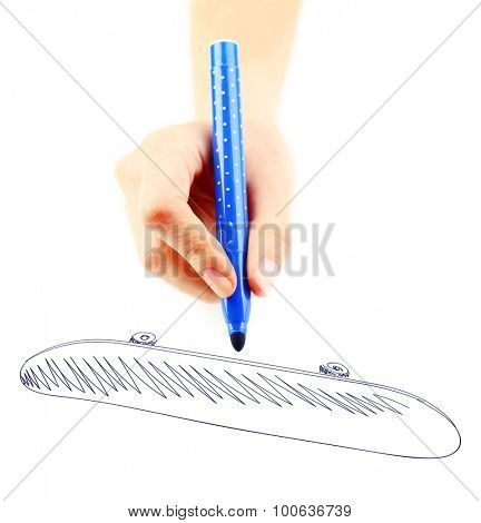 Female hand draw with marker isolated on white