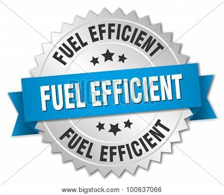 Fuel Efficient 3D Silver Badge With Blue Ribbon