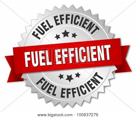 Fuel Efficient 3D Silver Badge With Red Ribbon