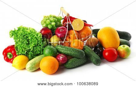 Fresh vegetables and fruits  isolated on white