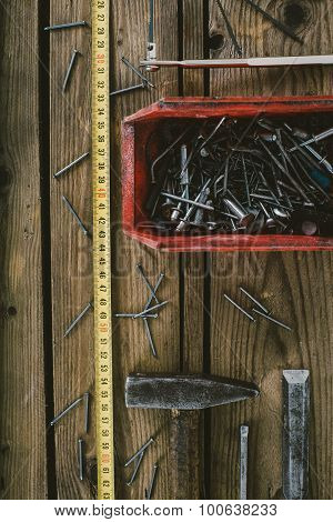 Woodwork Tools On Wooden Table