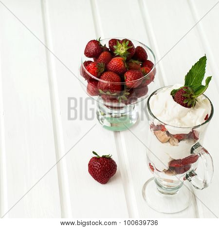 Dessert Of Strawberries, Whipped Cream And Pastry