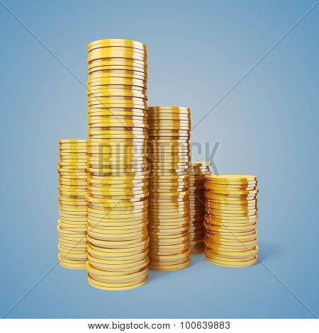 3d gold coins on gradient background