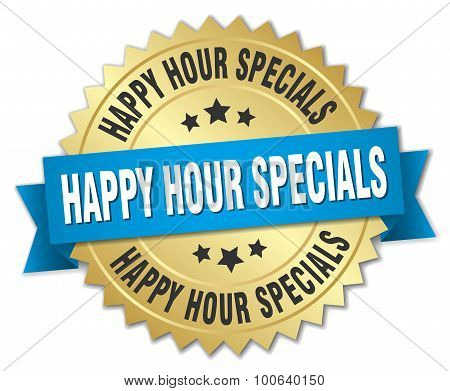 Happy Hour Specials 3D Gold Badge With Blue Ribbon
