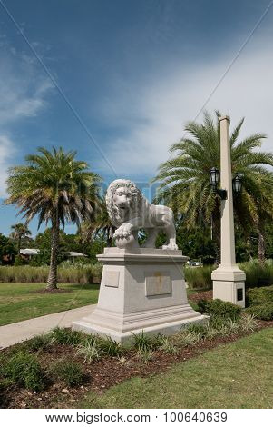 ST. AUGUSTINE, FLORIDA - AUGUST 15, 2015: One of the two new granite lion statues on the east side of the Bridge of Lions in St. Augustine. The lions were unveiled during a ceremony on July 2, 2015.