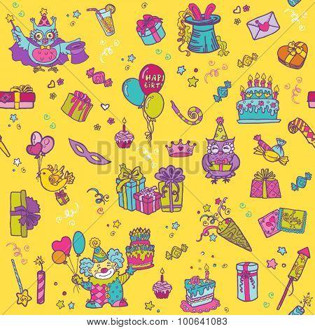 Birthday Celebration Seamless Pattern - for scrapbook, design
