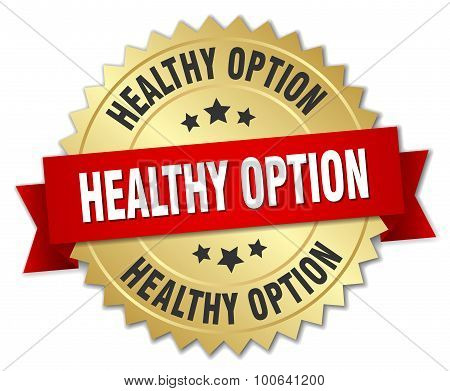 Healthy Option 3D Gold Badge With Red Ribbon