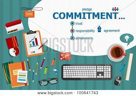 Commitment Design And Flat Design Illustration Concepts For Business Analysis