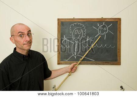 Teacher Showing A Sketch On Blackboard