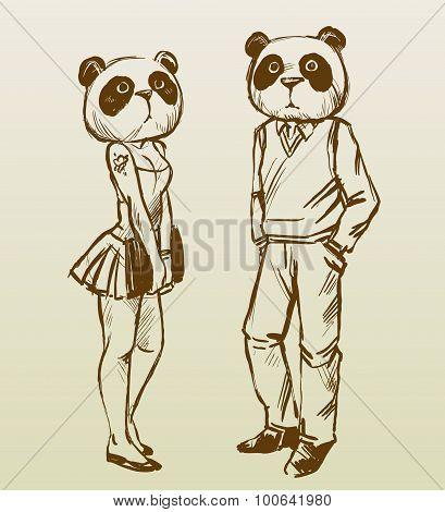 Panda boy and panda girl 2. Sketch vector illustration