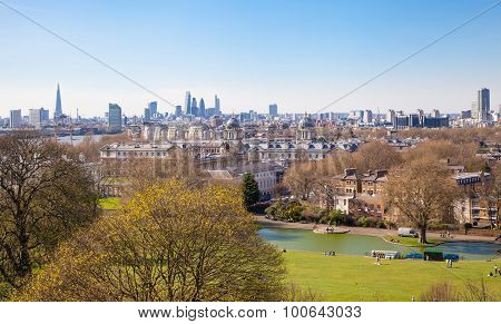 LONDON, UK - APRIL 14, 2015: City of London view from the Greenwich hills
