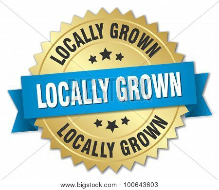 Locally Grown 3D Gold Badge With Blue Ribbon