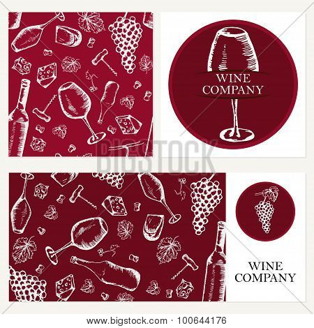 Wine Company. Retro Card, Envelope. Restaurant Theme. Business Cards Collection. Vector Illustration