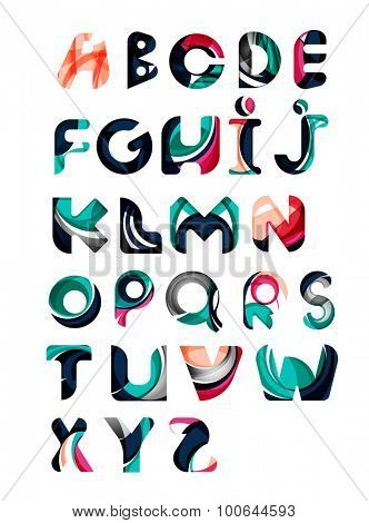 Collection of alphabet letters logos design elements. Business abstract symbol set, flowing overlapping shapes design