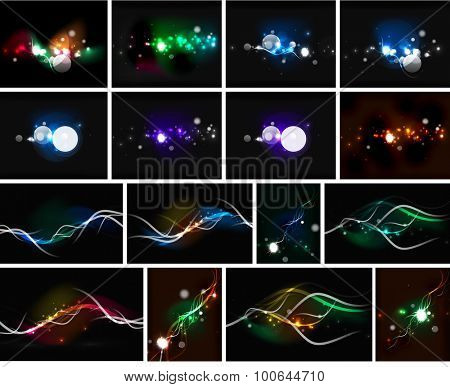 Glowing lines in the dark space, set of abstract backgrounds, modern hi-tech futuristic message presentation layouts or wallpapers