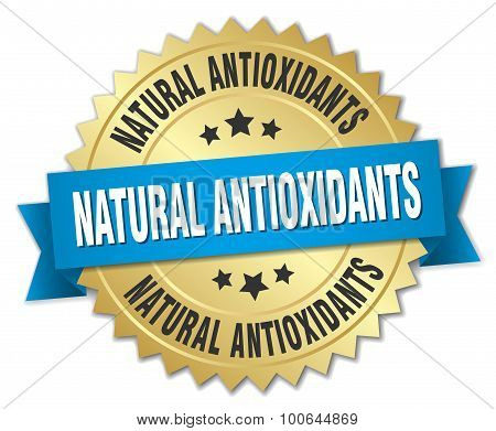 Natural Antioxidants 3D Gold Badge With Blue Ribbon