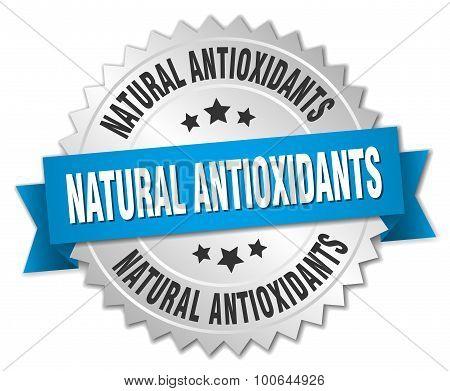 Natural Antioxidants 3D Silver Badge With Blue Ribbon