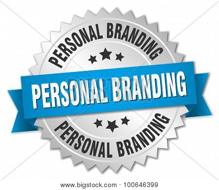 Personal Branding 3D Silver Badge With Blue Ribbon