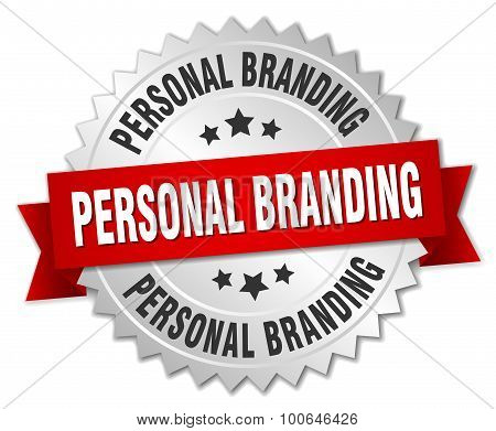 Personal Branding 3D Silver Badge With Red Ribbon