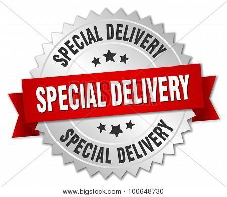 Special Delivery 3D Silver Badge With Red Ribbon
