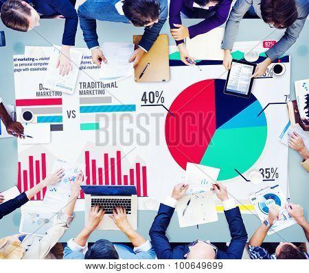 Digital Marketing Graph Statistics Analysis Finance Market Concept