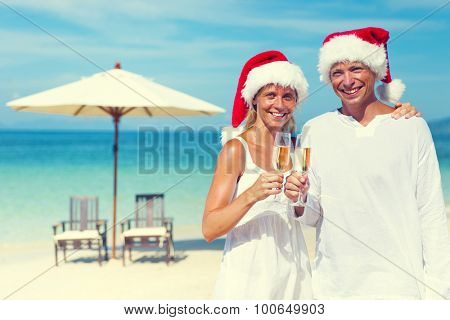 Couple Celebrating Christmas Beach Vacation Concept