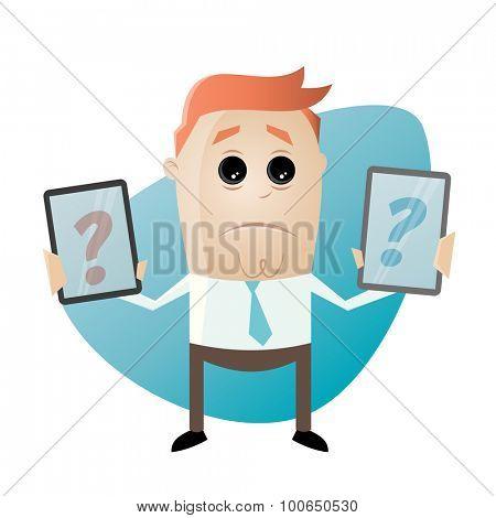 cartoon man is comparing mobile phones