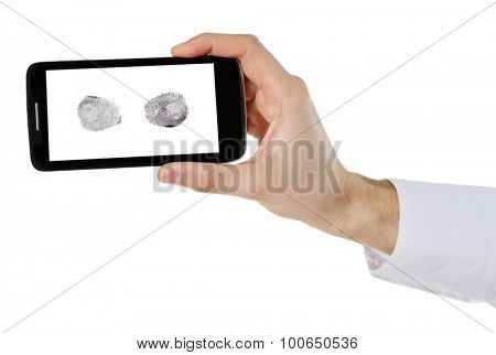Fingerprints on screen of smartphone. Mobile security concept