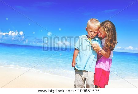 Summer Beach Family Fun Enjoyment Children Concept