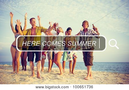 Here Comes Summer Freedom Happiness Join Concept